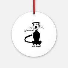 Meowza! 1950's Cartoon Cat Ornament (Round)