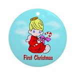 First Christmas (blond) Ornament (Round)