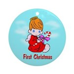 First Christmas (red head) Ornament (Round)