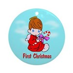 First Christmas (brown hair) Ornament (Round)