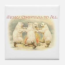 Dancing Christmas Bears Tile Coaster