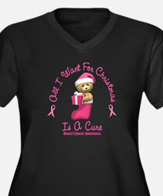 Bear In Stocking 2 (Breast Cancer) Women's Plus Si