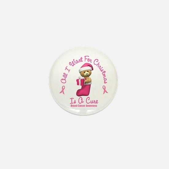 Bear In Stocking 2 (Breast Cancer) Mini Button