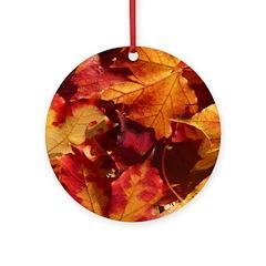 Thanksgiving Autmn Leaves Ornament (Round)
