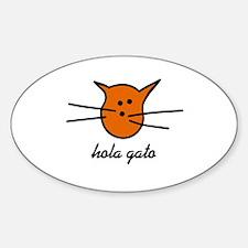 Hola Gato! Orange Kitty Oval Decal