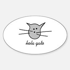 Hola Gato! Gray Kitty Oval Decal