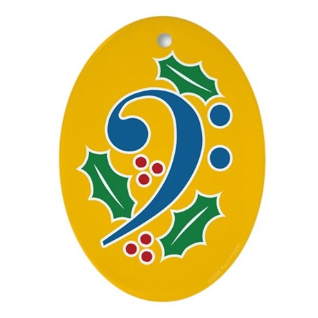 Bass Clef Holly Oval Ornament
