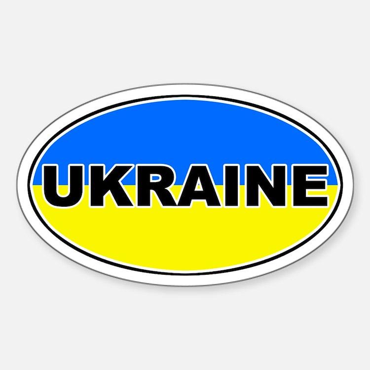 Ukrainian Oval Flag Oval Decal