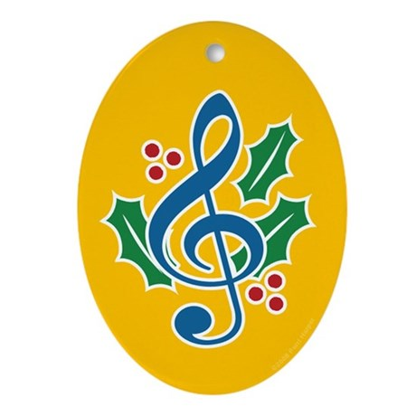 Treble Clef Holly Oval Ornament