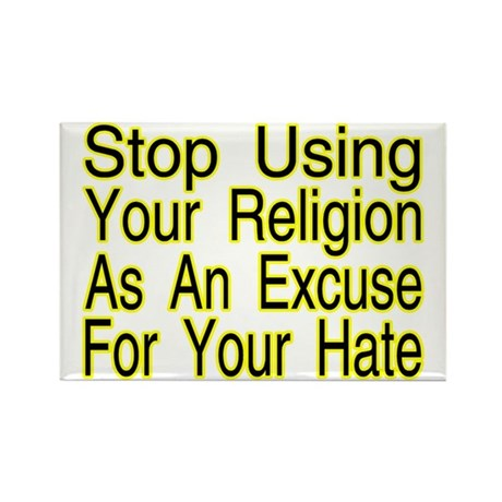 Stop Using Religion Rectangle Magnet (100 pack)