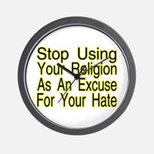 Stop Using Religion Wall Clock