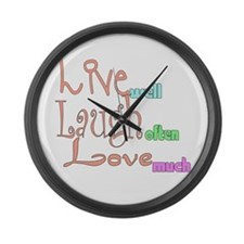 Live Laugh Love Large Wall Clock