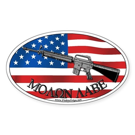 Molon Labe AR-15 Oval Sticker
