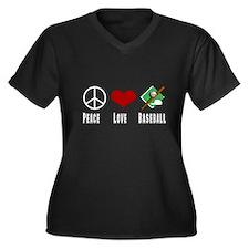 Peace Love Baseball Women's Plus Size V-Neck Dark