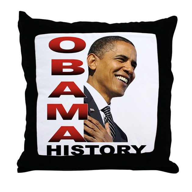Obama History Throw Pillow by cvenus