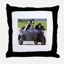 Cow in Sidecar Throw Pillow