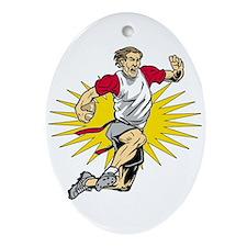 Flag Football Player Oval Ornament
