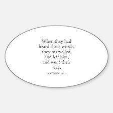 MATTHEW 22:22 Oval Decal