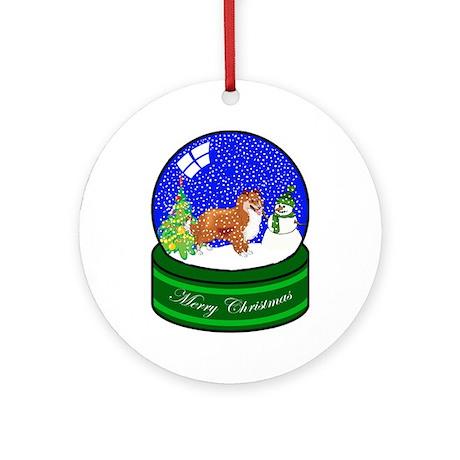 Snow Globe Sheltie Ornament (Round)