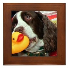 Doggy and Ducky Loving Friends Framed Tile