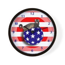 Ferret Flag Ball Wall Clock