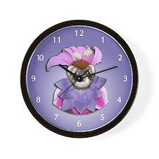 Ferret in Flower Dress Wall Clock