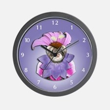 Ferret in Flower Dress Wall Clock