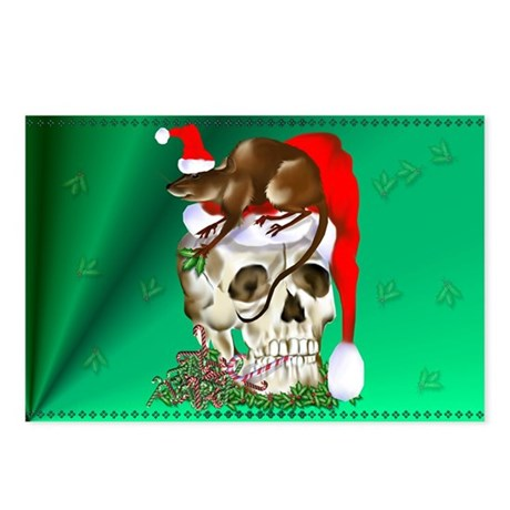 Christmas Skull and Happy Rat Postcards (Package o