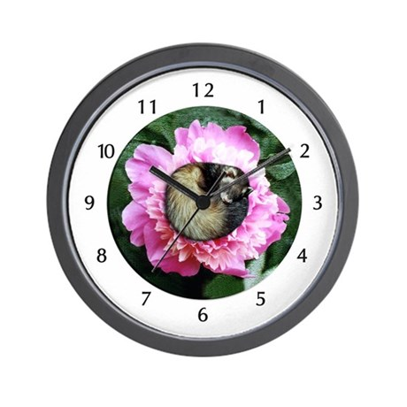 Ferret In Flower Wall Clock