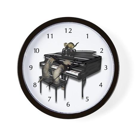 Piano with Three Ferrets Wall Clock