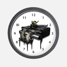 Piano with Three Ferrets Wall Clock