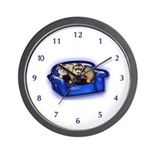 Ferrets On Couch Wall Clock