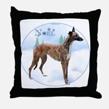 Greyhound Noel Throw Pillow