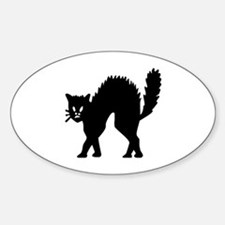 Vintage Black Halloween Kitty Oval Decal