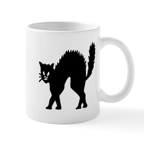 Vintage Black Halloween Kitty Mug