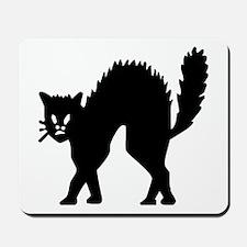 Vintage Black Halloween Kitty Mousepad