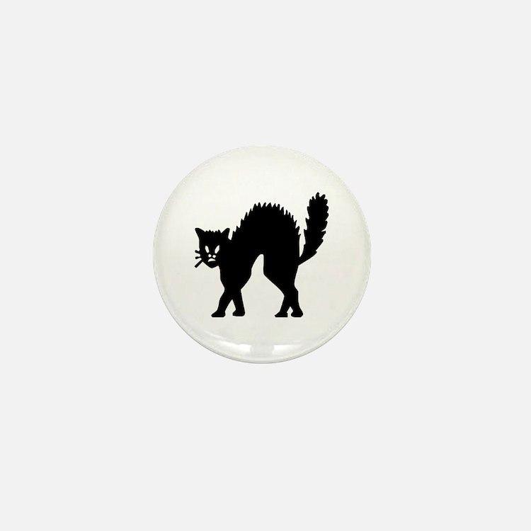 Vintage Black Halloween Kitty Mini Button