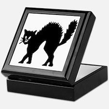 Vintage Black Halloween Kitty Keepsake Box