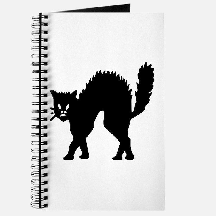 Vintage Black Halloween Kitty Journal