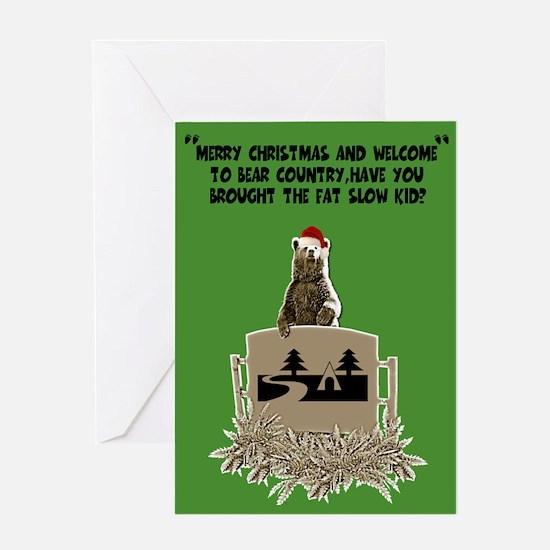 Funny Bear and the fat kid Xmas Greeting Card