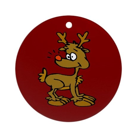 Cute Reindeer Ornament (Round)