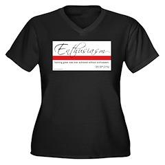 Emerson Quote: Enthusiasm Women's Plus Size V-Neck