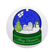 Snow Globe Maltese Ornament (Round)