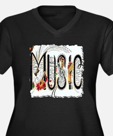 Music Women's Plus Size V-Neck Dark T-Shirt