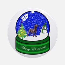 Snow Globe Chocolate Lab Ornament (Round)