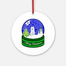Snow Globe Husky Ornament (Round)