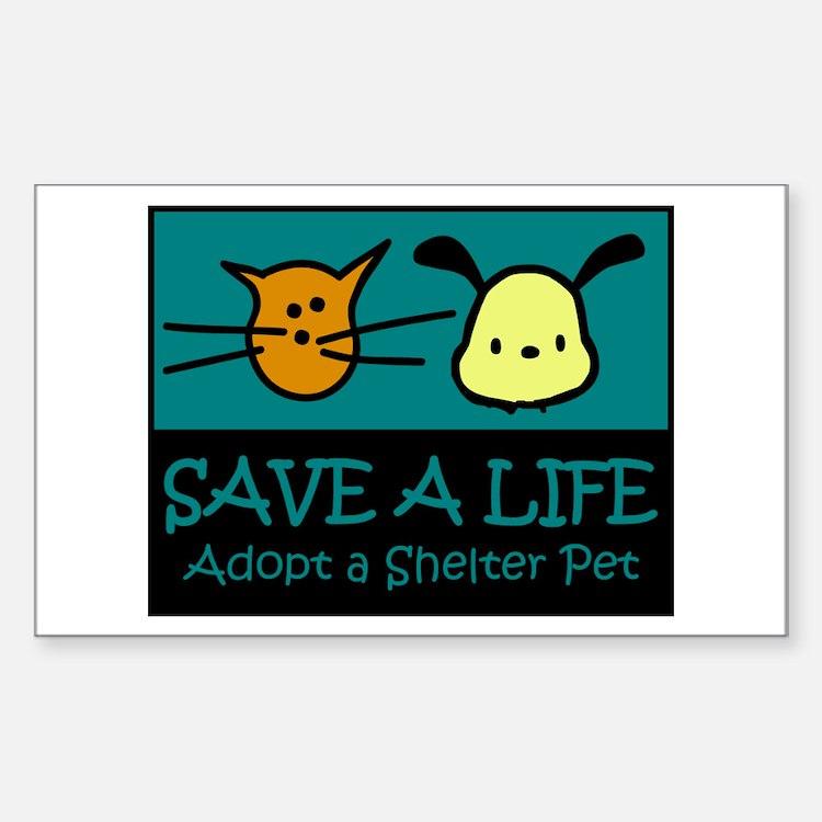Save A Life Adopt a Pet Rectangle Decal