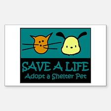 Save A Life Adopt a Pet Rectangle Sticker 50 pk)