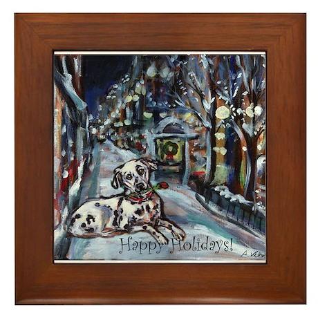 Dalmatian holiday Framed Tile