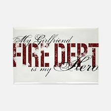 My Girlfriend My Hero - Fire Dept Rectangle Magnet